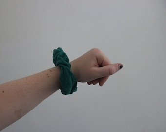 Green Corduroy Scrunchie