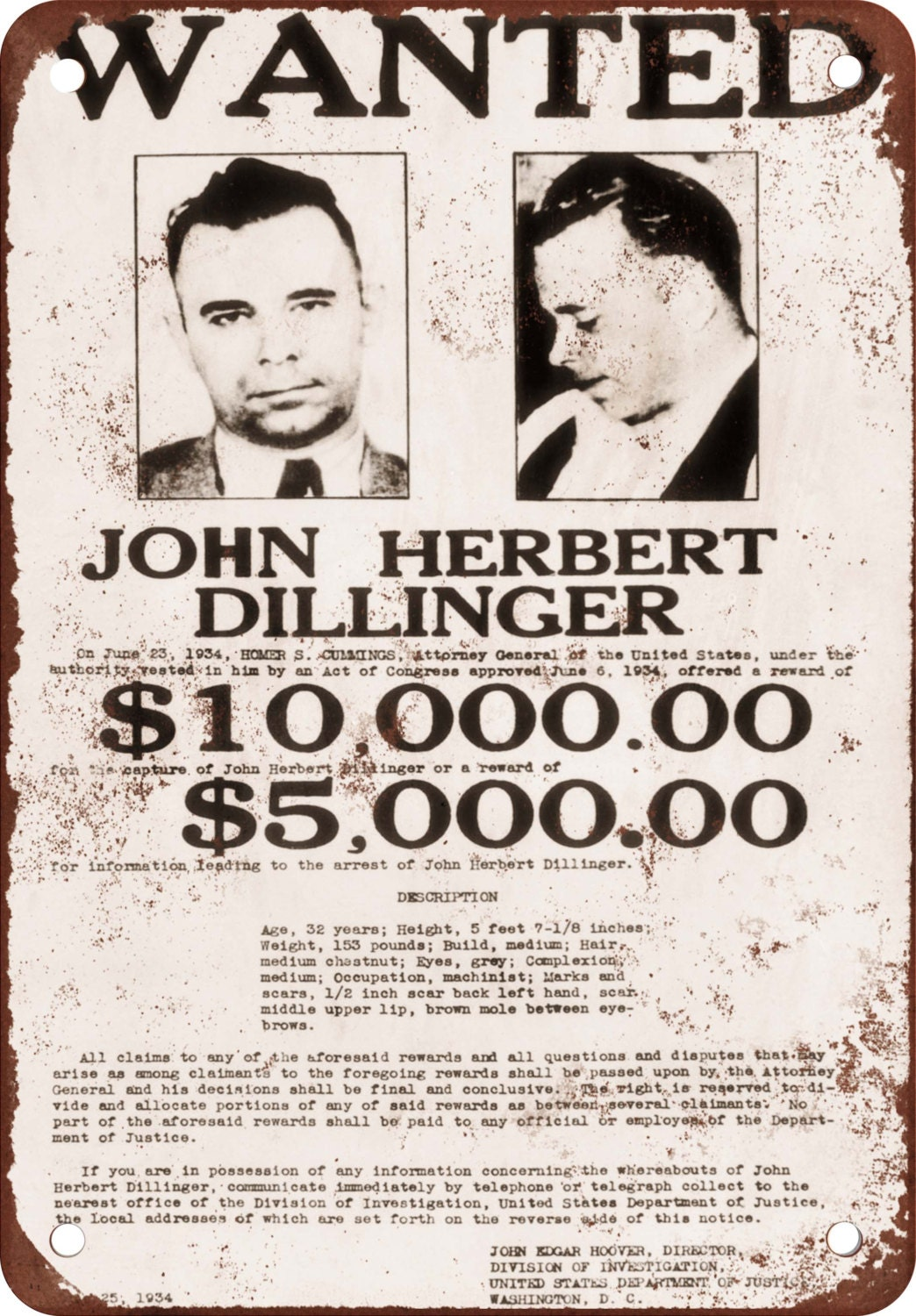 1934 dillinger wanted poster vintage look reproduction