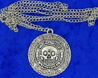 Pirates of the Caribbean Necklace Silver Color Doubloon Coin