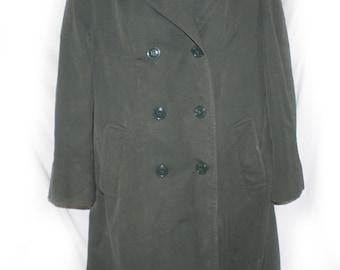 Vintage womens trench coat Women's Army Green Jacket Military Trench Parka Coat size Medium 16 short