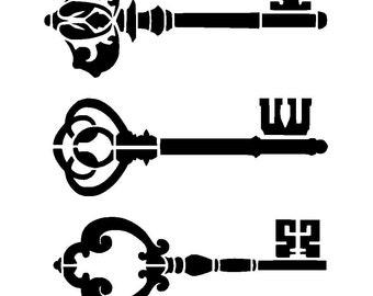 "6/6"" Vintage keys stencil."
