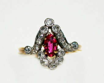 Antique Engagment Oval Ruby Ring
