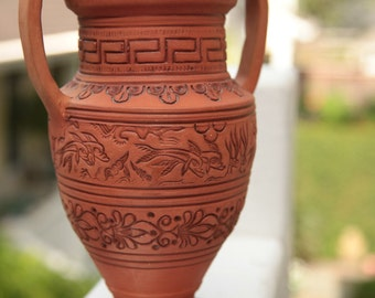 Clay Vase/Clay Pot/Greek Pottery Vase/Volute Krater Style/Dolphin Vase/Glazed Pot/9x6x9/*FREE GIFT WRAP*