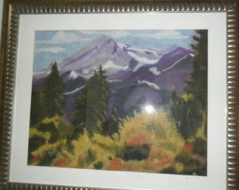 Purple mountains, pastel;, framed and matted under glass , painting size 15 X 20, frame size 23-1/2 X 28