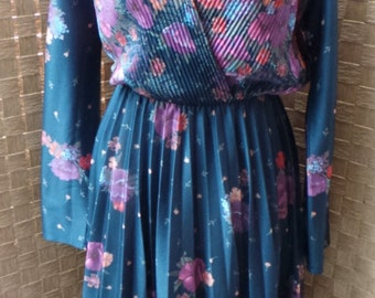 70s Navy Pleated Floral Day Dress
