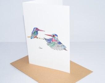 Greeting Card - Kingfishers ~ Ink & Watercolour Drawing