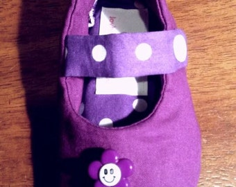 Purple and Polka Dot Mary Jane Toddler Shoes Size 12-18mths