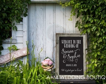 Welcome Wedding Sign // Black and White // Rustic // 11x14, 11x17, 16x20 // Customized // Personalized // Simon and Sophie Wedding Sign