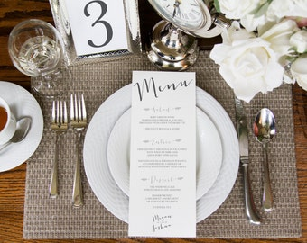 Printable Wedding Menu, Dinner Card, Menu, Table Numbers, Wedding Table Numbers, Menu Template, CUSTOMIZED: CLASSIC ROMANCE