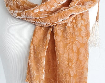 Silk Cut Velvet Scarf  - Naturally Hand Dyed - Daisy Pattern - Eco Dyed Scarf - Earthy - Hippie - Boho - One of a Kind Scarf