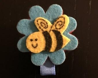 Bee in a Flower Hair Clip