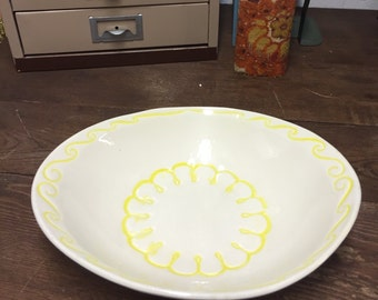 Vintage McCoy Dish Serving Medium ivory and yellow