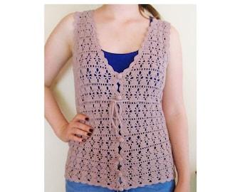 Vintage crochet 70s pink top