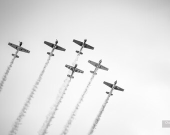 Six Planes // Black and White Photography, Wall Art, Airplanes, Aeroplane, Aircraft, Abstract, Sky, Photo Print