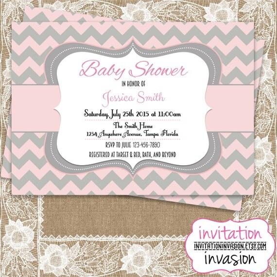 baby shower invitation pink and gray chevron baby shower invite girl