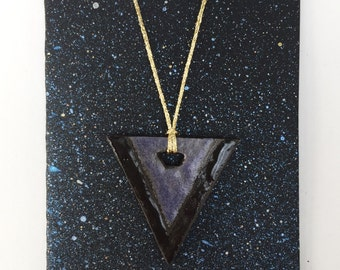 Ceramic Necklace, Geometric Necklace, Ceramic Jewelry, Clay Jewelry, Boho Triangle Necklace, Pendant Necklaces handmade jewelry clay No.07