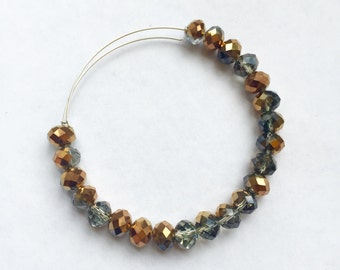 Elodie Rose Smoke and Bronze Large Faceted Glass Beaded Adjustable Bracelet, Gold Tone