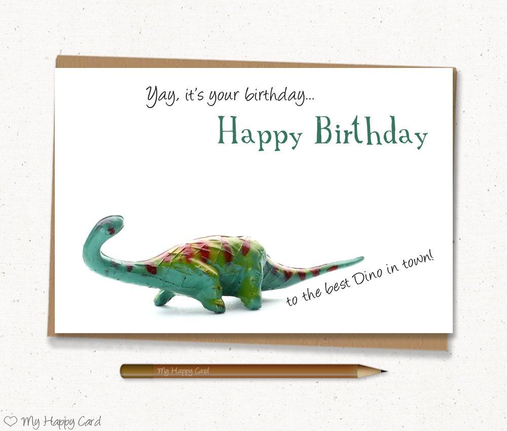 Dino Birthday Card Printable 4X6 Digital File