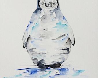Watercolour Penguin Painting