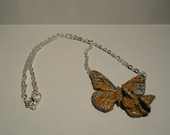 Metallic Polymer Butterfly Necklace