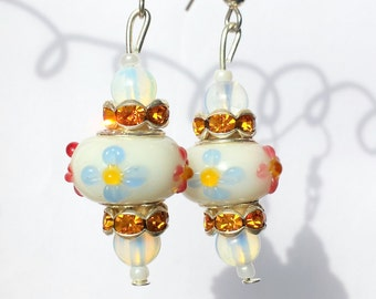 Glass flower earrings, Murano glass earrings, Flower earrings, White earrings, Boho earrings
