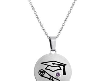 Graduation Disc Pendant With Personalized Birthstone