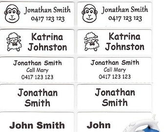 Large (47*15mm) White Iron On Personalised Name Labels -  (Pack Size 16, 26 or 36)