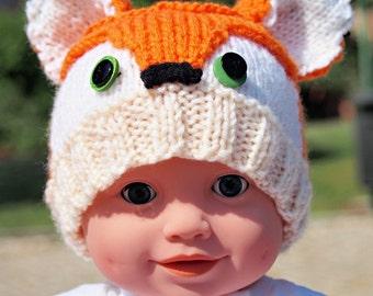 1# Knitted Fox Baby Beanie