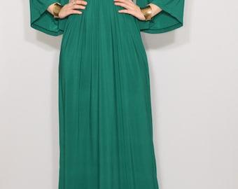 Emerald green dress Long dress Kimono dress Women Maxi dress