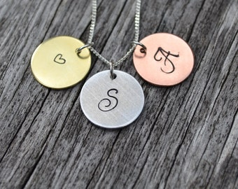 Tri-colour Hand Stamped Initial Necklace