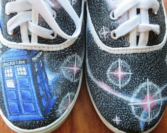 Doctor Who Tardis Painted Shoes