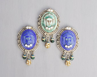 1 Glass Cameo Fridge Magnet - exotic face with rhinestones and beads - choice of blue or green
