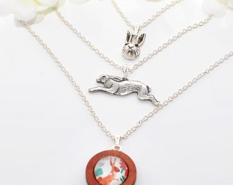 Layered Rabbit Necklace Bunny Adventure - Rabbit Pendant - Bunny Jewelry - Bunny Necklace - Gift for Bunny Lover