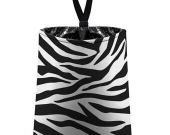 Car Trash Bag // Auto Trash Bag // Car Accessories // Car Litter Bag // Car Garbage Bag - Zebra Stripes - black and white