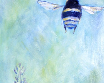 Blue Bee Art Print of Original Painting by Claire Whitehead