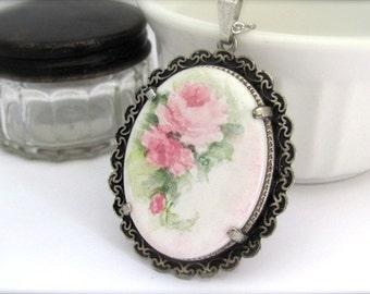 Flower Pendant Necklace, Vintage Porcelain Pendant, Long Chain Pendant Necklace, Pink Rose Flower, Vintage Wedding, Bridal Necklace