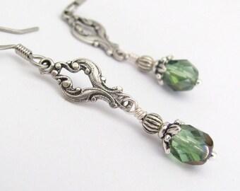 Green Earrings, Bohemian Earrings, Green Czech Glass Silver Plated Dangle Earrings, Steampunk Earrings, Neo Victorian Earrings
