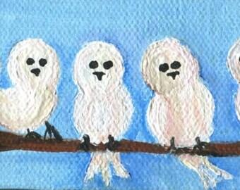 White birds painting,  Fluffy little white birds mini painting acryic canvas, small cute bird artwork, bird art, birds on branches