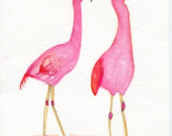 Flamingos Watercolor Painting Original 5 x 7 bird art,  watercolor of pink flamingo, small watercolor painting, SharonFosterArtrArt