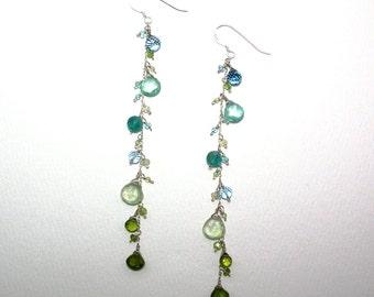 Zillah - London blue topaz, mystic blue topaz, apatite, Swiss blue topaz, prehnite, peridot, and vesuvianite earrings