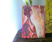 Warmth, Original Art, Lady, Dreadlocks,17cm x 23cm, Home Decor, Bohemian, Brown, Yellow, Mixed Media, Painting