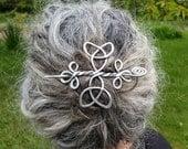 Celtic Trinity Knots Aluminum Hair Pin, Barrette, Hair Slide, Clip, Shawl Pin, Bun Holder, Long Hair Accessories, Knitting Accessory, Women