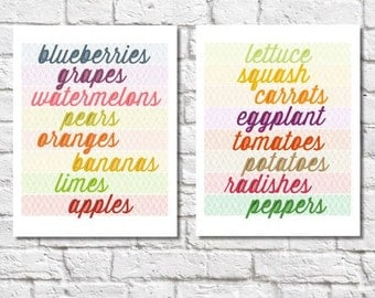Fruit And Vegetable Prints Set of Two Prints Kitchen Veggie Print Fruit Art Typographic Print Kitchen Word Art Colorful Kitchen Wall Decor