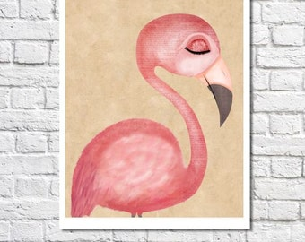 flamingo print pink flamingo art print pink flamingo decor flamingo gift flamingo nursery art flamingo wall art girls room flamingo picture - Home Decor Wall Hangings