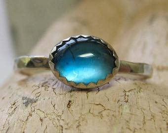Blue topaz birthstone silver stacking Ring - Atlantis