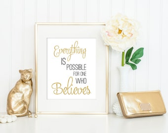 Everything Is Possible Print / Jesus Print / Bible Verse Print / Christian Wall Art / Mark 9:23 Print / Positive Print / In Three Colors!