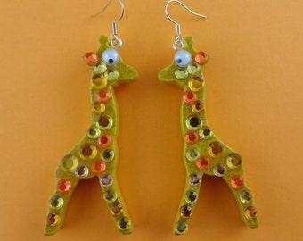 Glitzy Giraffe Earrings - vintage wooden toy giraffes with rhinestones and googly eyes - cute kitsch novelty fun sparkly glittery diamantes
