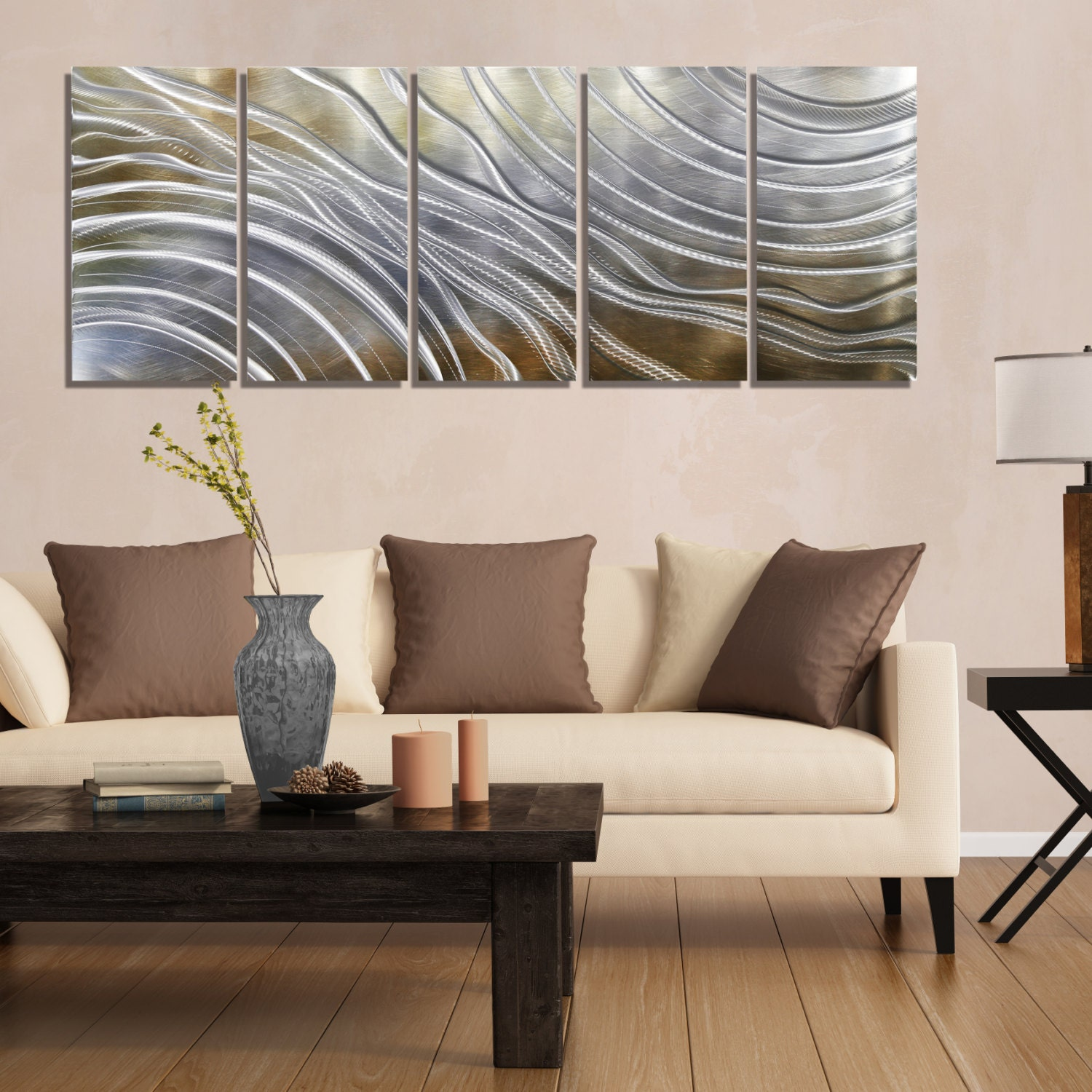 Contemporary Silvers: Gold Silver & Pecan Modern Metal Wall Art Contemporary Wall