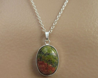 Unakite Necklace. Green Necklace. Pink and Green Necklace. Red Jasper Necklace. Multicolor Necklace. Silver Chain Necklace