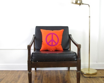 Orange + Fuchsia Peace Sign Decorative Pillow - SALE Ready to ship!
